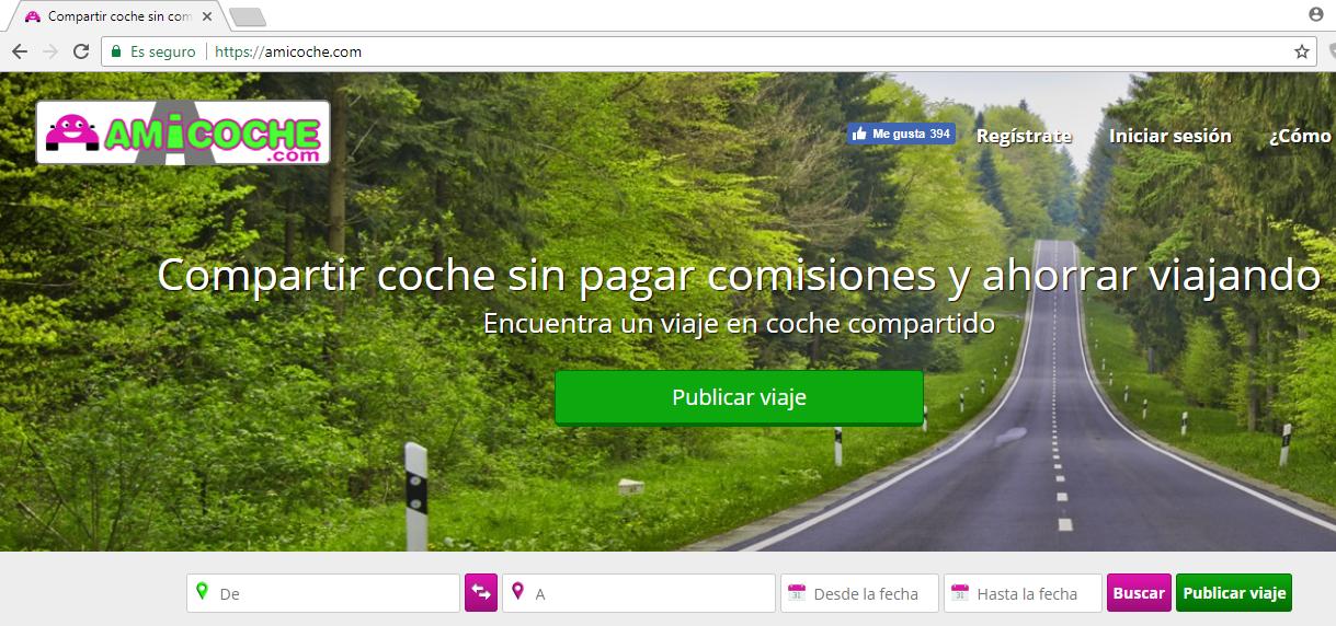 Web de Amicoche para compartir coche